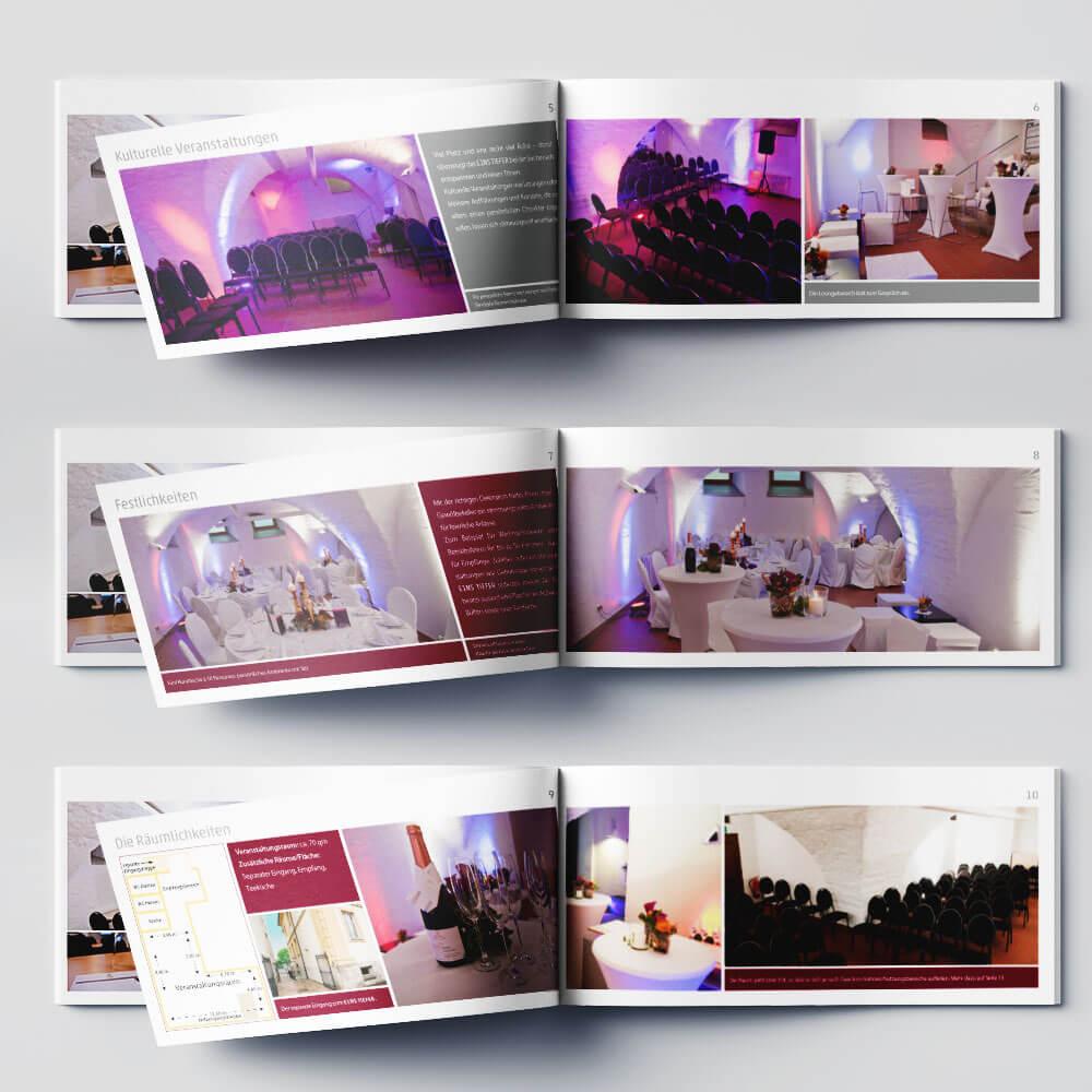 Innenseiten der Broschüre für den Veranstaltungsraum EINSTIEFER