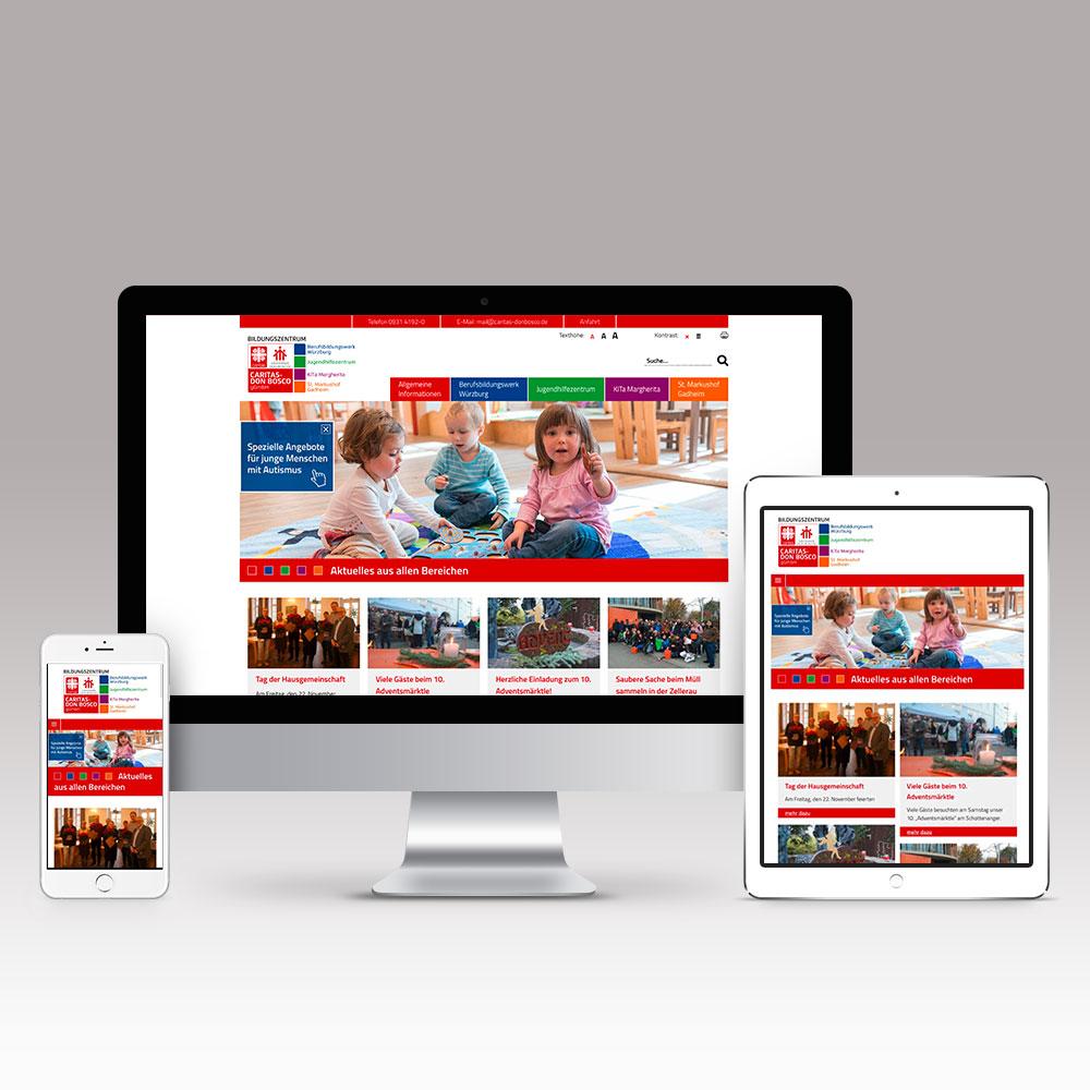 Responsive Internetseite der Caritas Don Bosco gGmbH